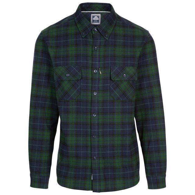 Wrothamton Men's Cotton Shirt in Green Check