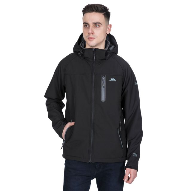 Accelerator II Men's Hooded Softshell Jacket in Black