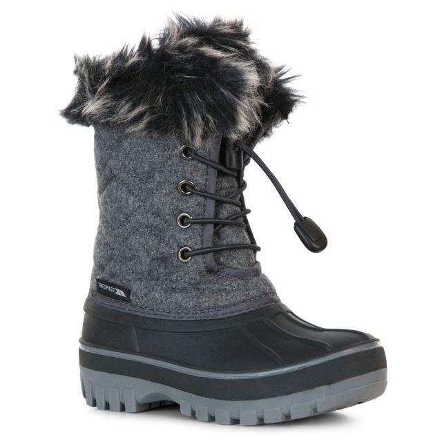Trespass Kids Snow Boots Waterproof Fleece Lined Aine Grey