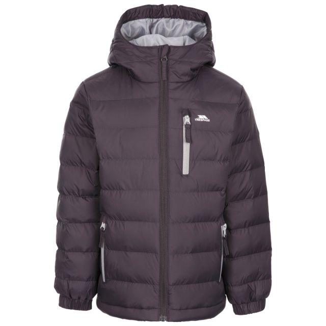 Trespass Kids' Padded Jacket Aksel Grey, Front view on mannequin