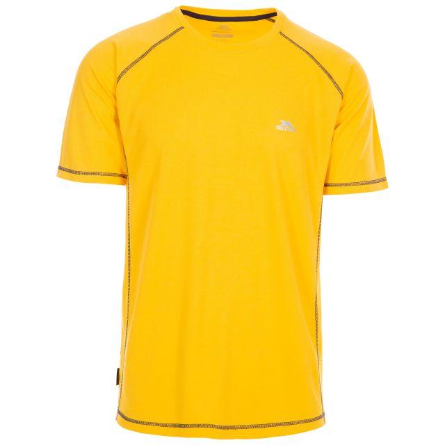 Trespass Men's Quick Dry Active T-Shirt Albert Yellow, Front view on mannequin