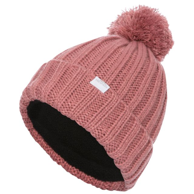 Alisha Women's Knitted Bobble Hat in Pink, Hat at angled view