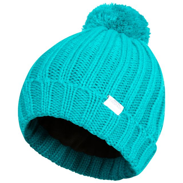 Alisha Women's Knitted Bobble Hat in Green