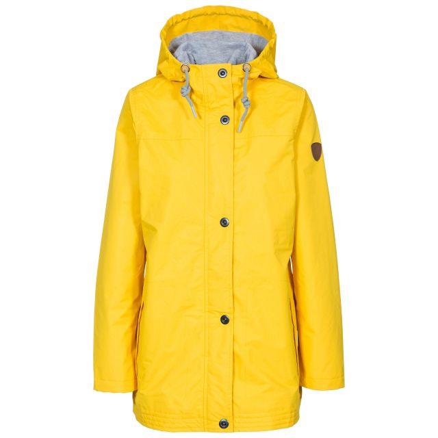 Trespass Womens Waterproof Jacket Amarina in Yellow, Front view on mannequin