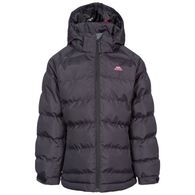 Amira Kids' Padded Casual Jacket in Black, Front view on mannequin