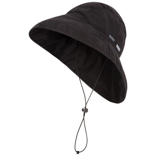 Ando Adults' DLX Waterproof Rain Hat in Black, Hat at angled view
