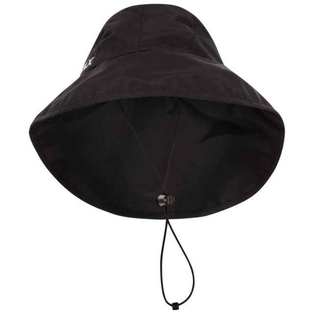 Trespass DLX Adults Waterproof Rain Hat in Black Ando