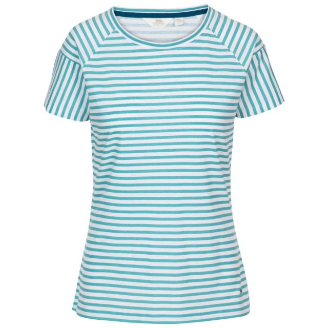 Ani Women's Printed T-Shirt Aquamarine Printed Stripe, Front view on mannequin