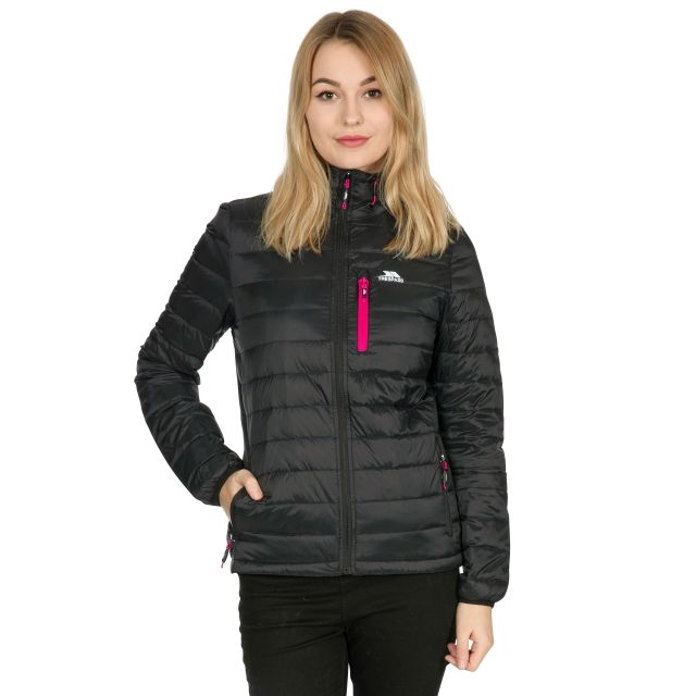 Arabel Women's Hooded Down Packaway Jacket in Black