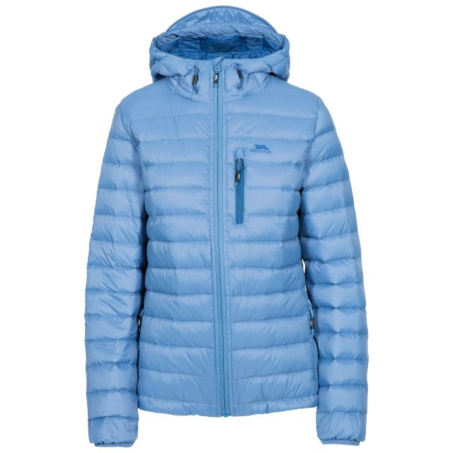 Trespass Womens Down Packaway Jacket with Hood Arabel Blue