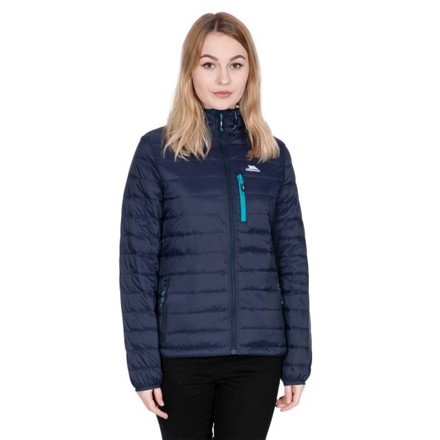 Arabel Women's Hooded Down Packaway Jacket in Navy