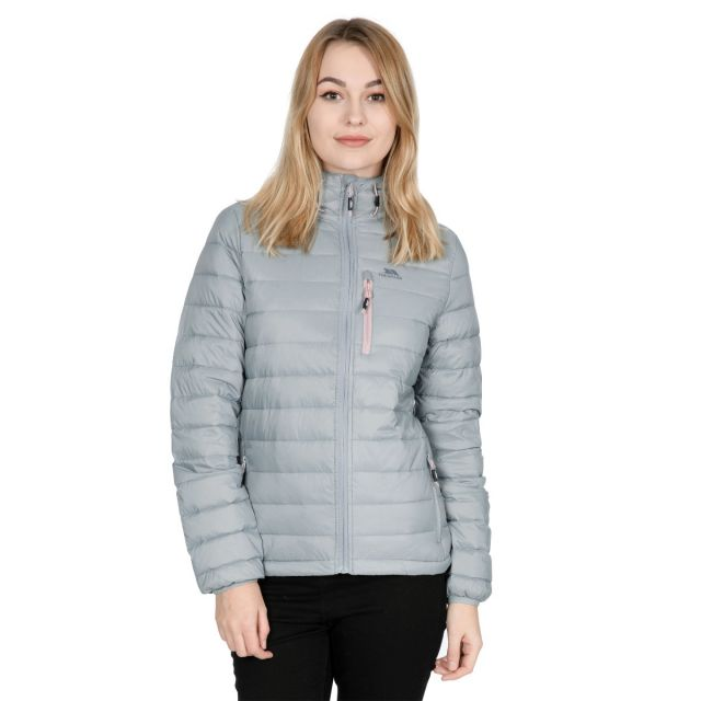 Arabel Women's Hooded Down Packaway Jacket in Grey