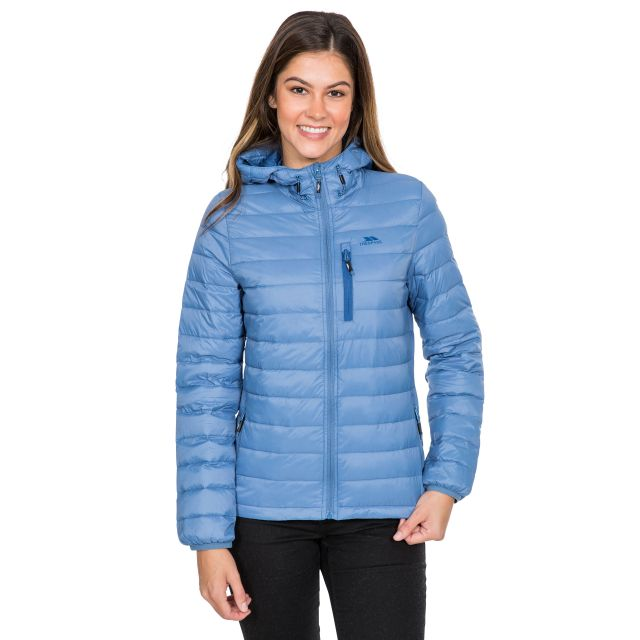Arabel Women's Hooded Down Packaway Jacket in Blue