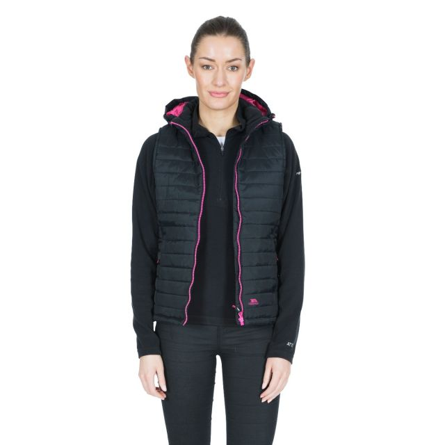 Aretha Women's Hooded Padded Gilet in Black
