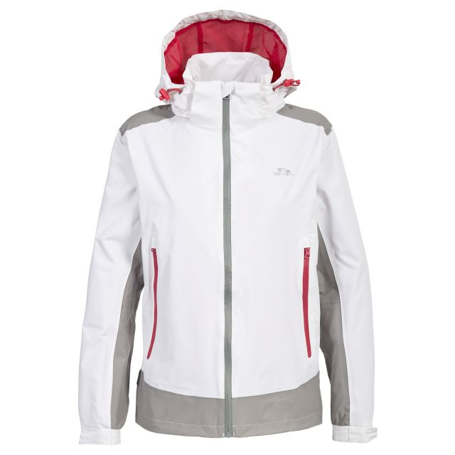 Trespass Womens Waterproof Jacket Asha in White, Front view on mannequin