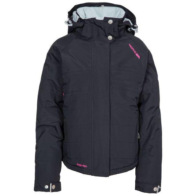 Auden Girls' Ski Jacket in Black, Front view on mannequin