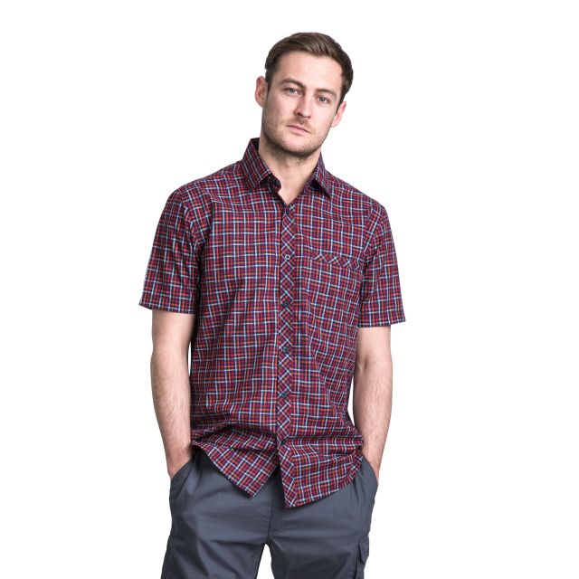 Baffin Men's Short Sleeve Checked Shirt in Purple