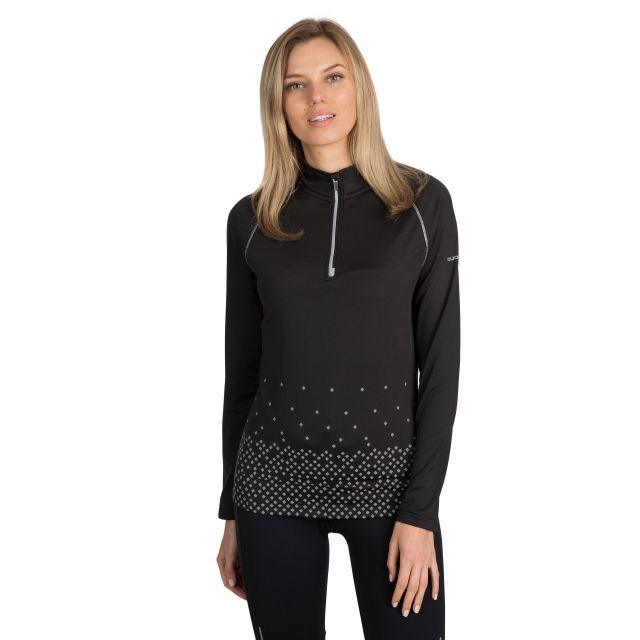 Belinda Women's 1/2 Zip Quick Dry Active Top in Black