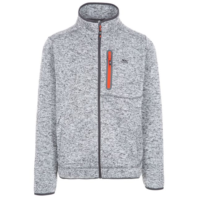 Bingham Men's Marl Fleece Jacket in Light Grey