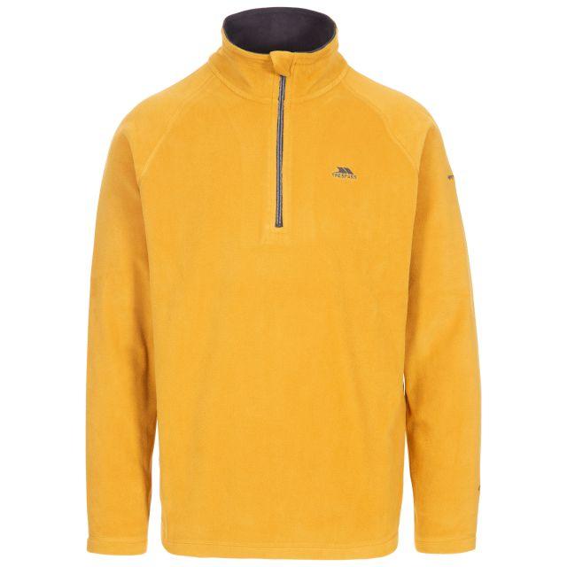 Blackford Men's 1/2 Zip Microfleece in Yellow, Front view on mannequin