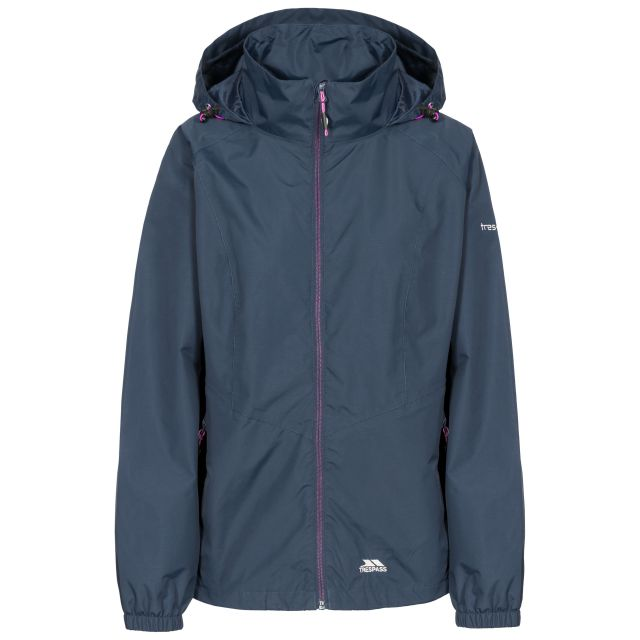 Trespass Womens Waterproof Jacket Blyton in Navy, Front view on mannequin