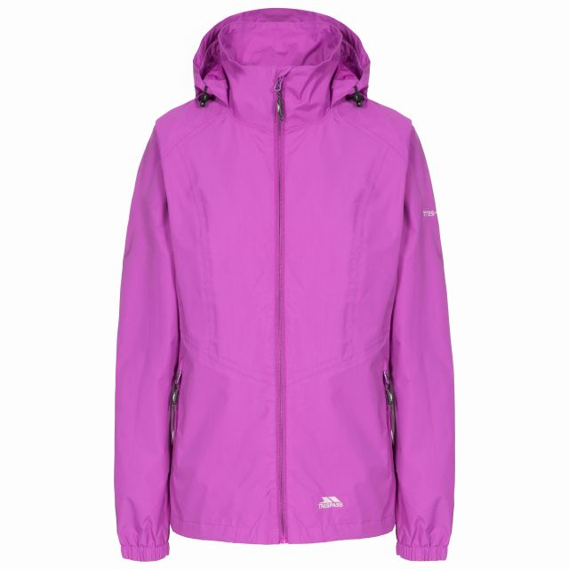 Trespass Womens Waterproof Jacket Blyton in Purple, Front view on mannequin