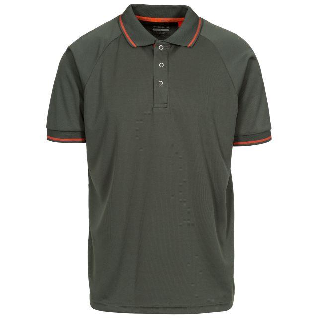 Bonington Men's Quick Dry Polo Shirt in Khaki, Front view on mannequin
