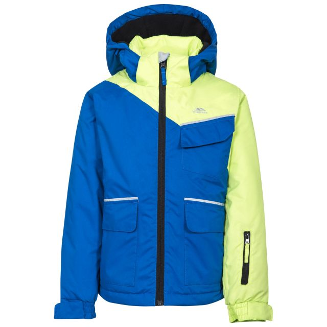 Boomkin Boys' Ski Jacket in Blue, Front view on mannequin
