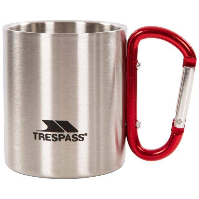 Stainless Steel Novelty Carabiner Mug in Light Grey