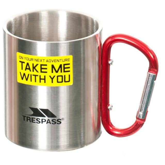 Stainless Steel Novelty Carabiner Mug in Light Grey