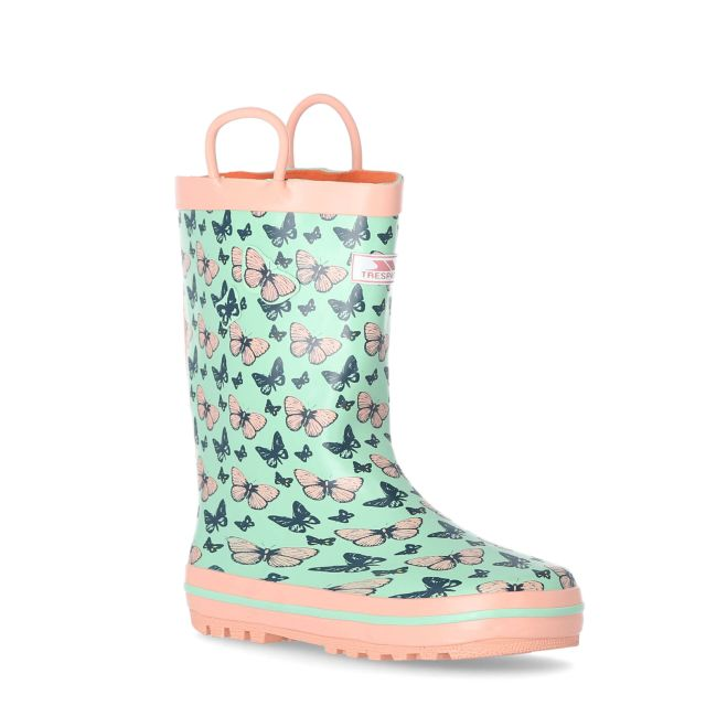 Butterflie Girls' Printed Wellies in Light Green