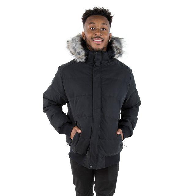 Calgary Men's DLX Hooded Down Jacket in Black