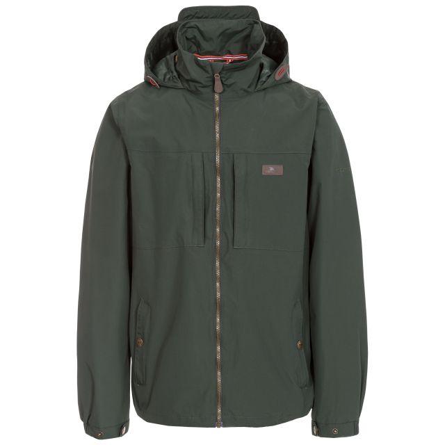 Cartwright Men's Hooded Waterproof Jacket in Khaki, Front view on mannequin