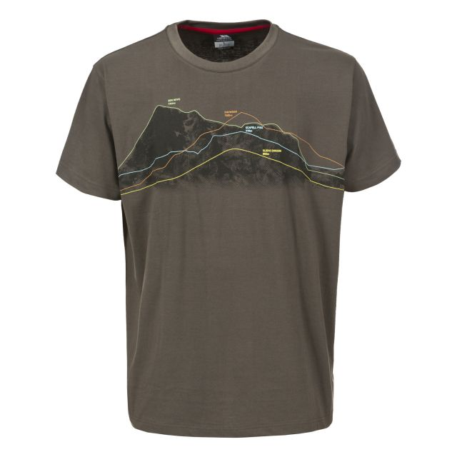 Cashel Men's Casual Printed T-Shirt in Khaki