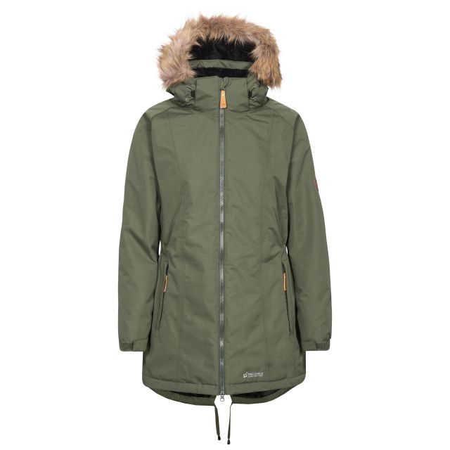 Celebrity Women's Fleece Lined Parka Jacket in Khaki