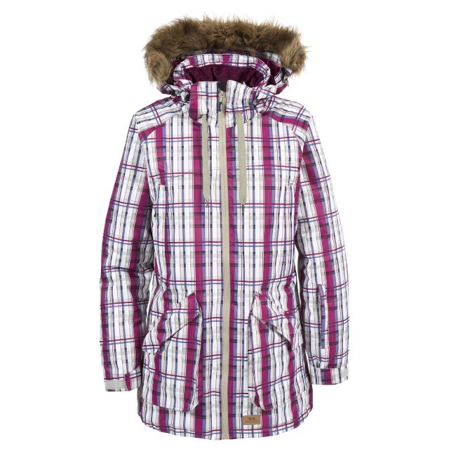 Chima Womens Faux Fur Trim Ski Jacket in Pink