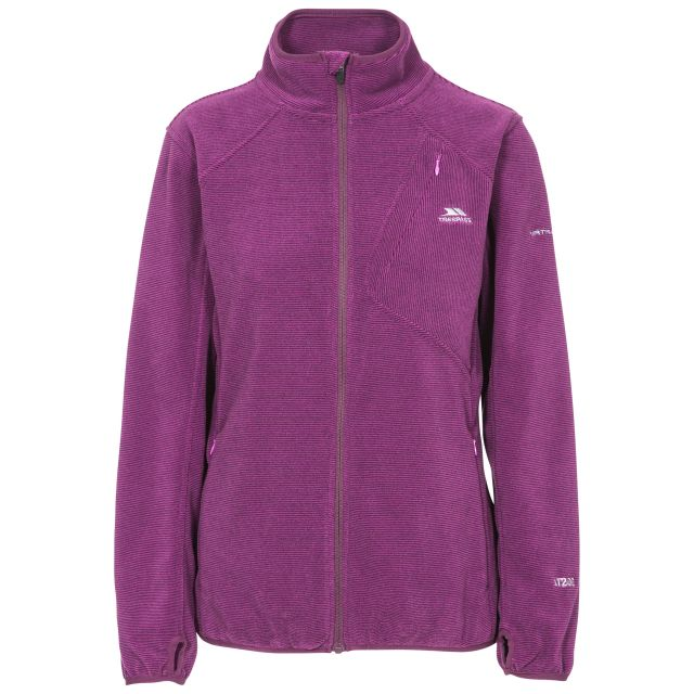 Ciaran Women's Ribbed Fleece in Purple, Front view on mannequin