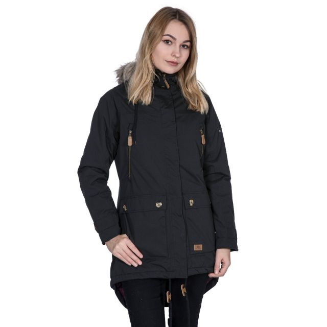 Clea Women's Waterproof Parka Jacket in Black