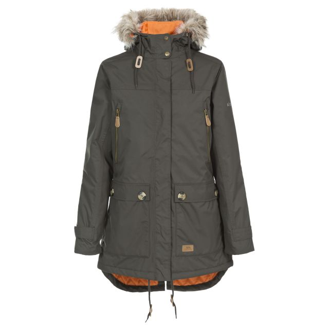 Clea Women's Waterproof Parka Jacket in Khaki