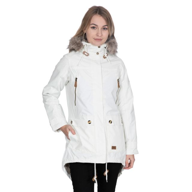 Clea Women's Waterproof Parka Jacket in White