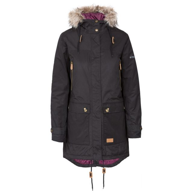 Clea B - Womens Waterproof Parka Padded Jacket in Black, Front view on mannequin