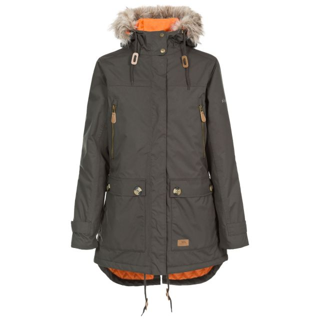 Clea B - Womens Waterproof Parka Padded Jacket in Khaki, Front view on mannequin