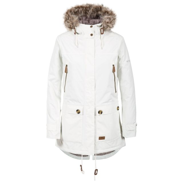 Clea B - Womens Waterproof Parka Padded Jacket in White, Front view on mannequin