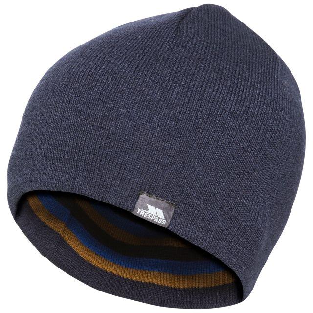 Trespass Adults Beanie Hat Striped Lightweight Coaker Blue