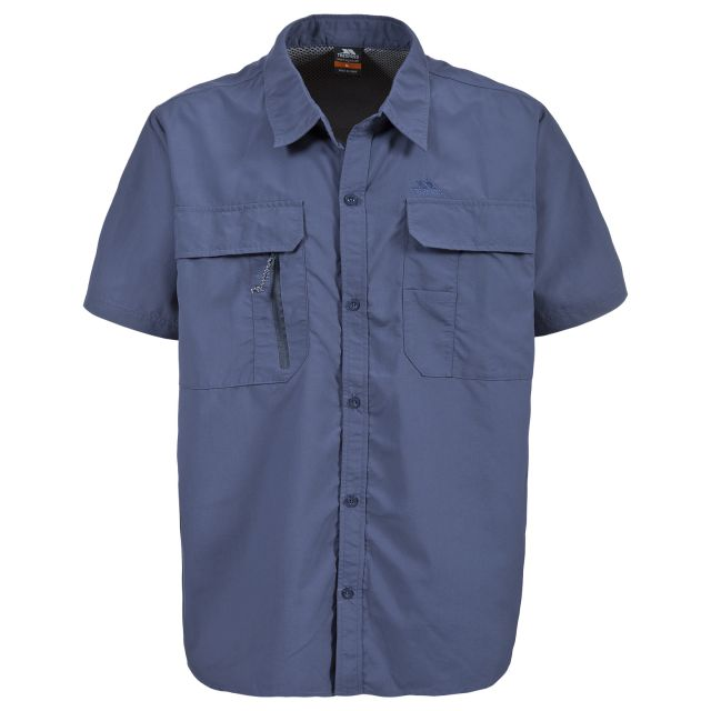 Colly Men's Short Sleeve Mosquito Repellent Shirt in Blue