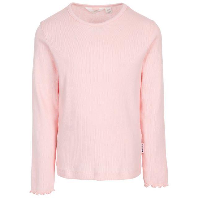 Trespass Kids T Shirt Long Sleeved Flute Cuffs Content Light Pink, Front view on mannequin