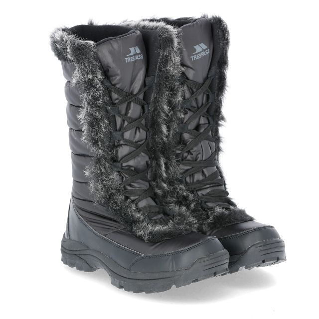 Coretta Women's Fleece Lined Waterproof Snow Boots in Black