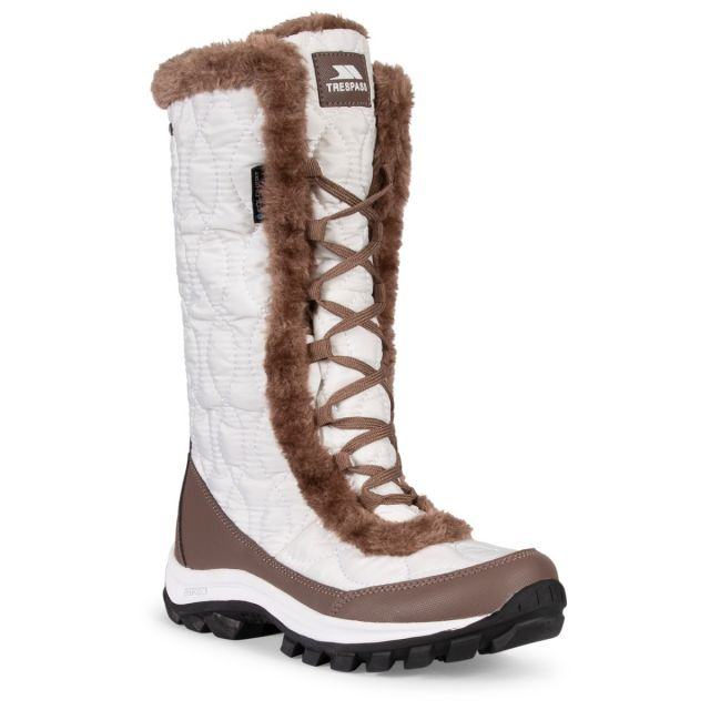 Trespass Womens Snow Boots Waterproof Fleece Lined Coretta II White