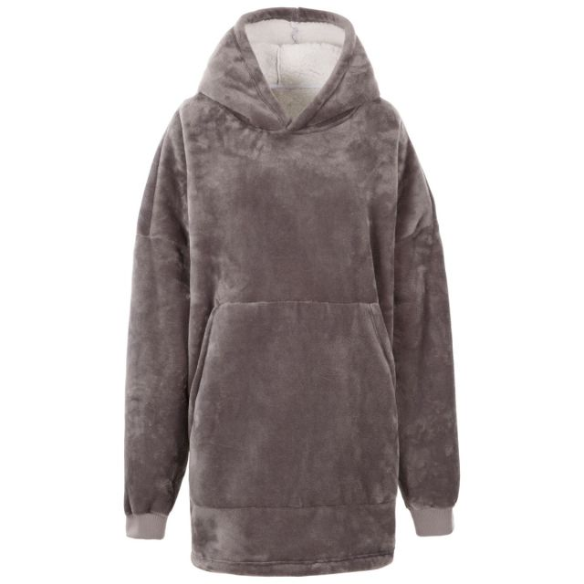 Adults Wearable Blanket Cosiness Oversized Fleece Hoodie in Grey, Front view on mannequin