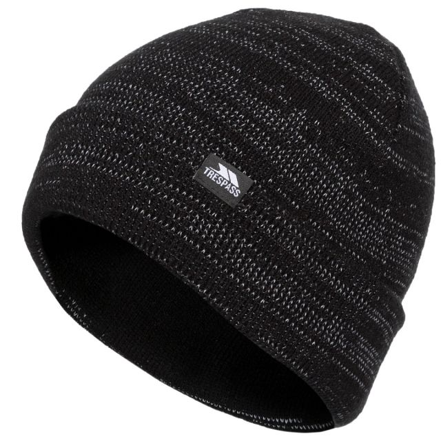 Trespass Adults Beanie Hat Reflective Double Layer Crackle Black, Hat at angled view